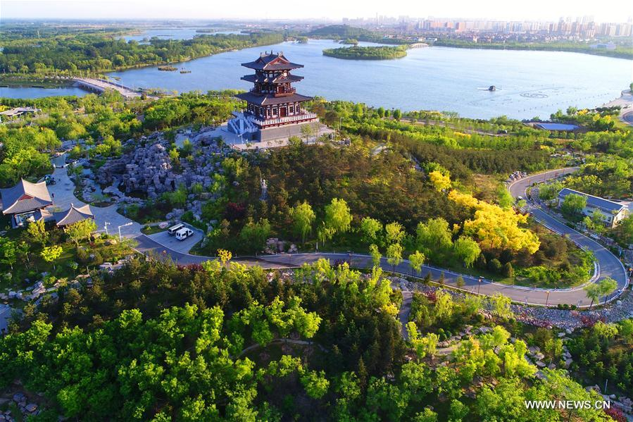 Scenery of South Lake Park in Hebei