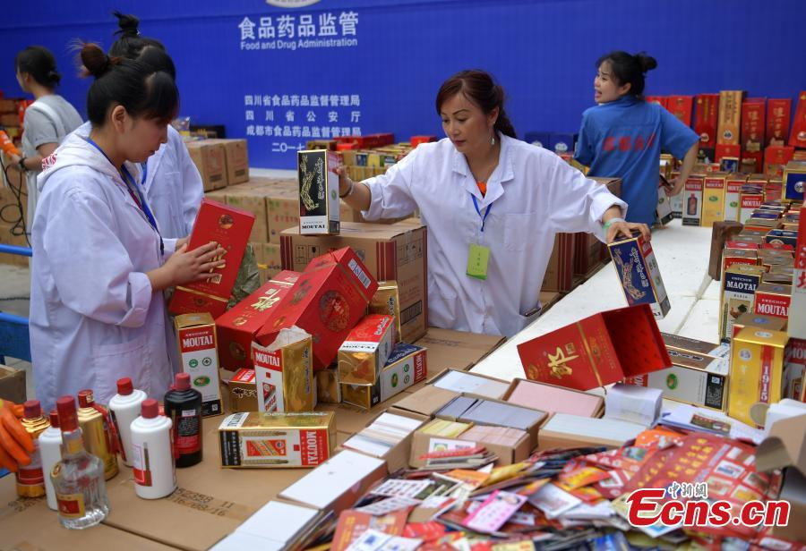 Fake liquor worth more than $440,000 destroyed in Sichuan