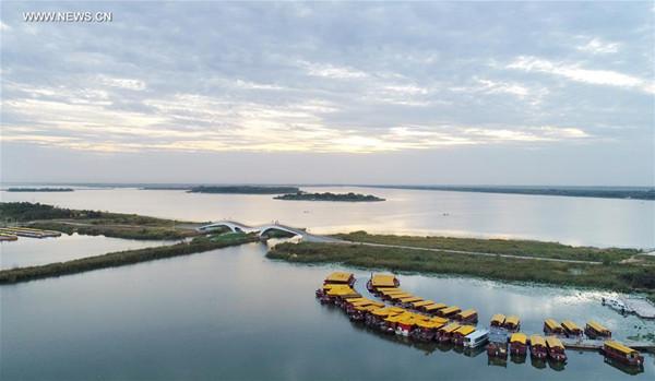 Scenery of Hengshui Lake nature reserve wetland park in N China