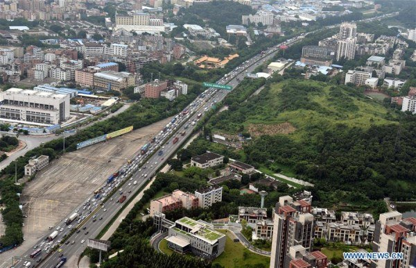 Guangdong highways see traffic jam as National Day holiday nears end