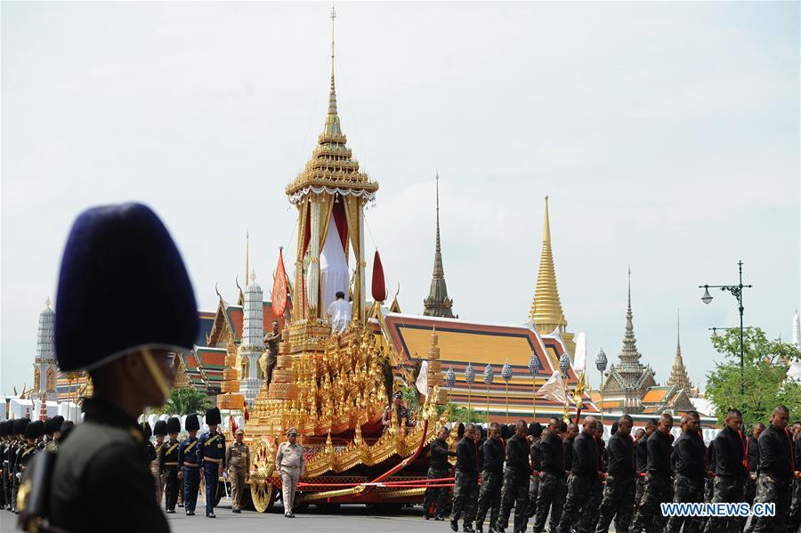 Rehearsal for funeral of late Thai King held in Bangkok