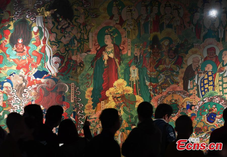 Restored frescos of Pilu Temple on display in North China