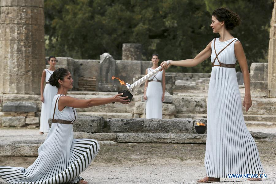 Final dress rehearsal for PyeongChang Winter Olympics flame lighting ceremony held in Greece