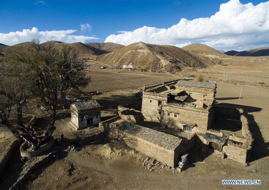 Ancient house with scripture halls of Tibetan Buddhism seen in Sichuan