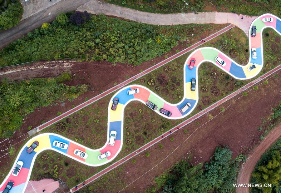 Colorful S-shaped road opens to traffic in Chongqing