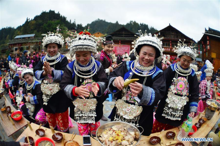 Miao ethnic group celebrates traditional New Year festival in Guizhou