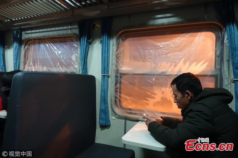 Train running in extreme cold weather in Hulunbuir