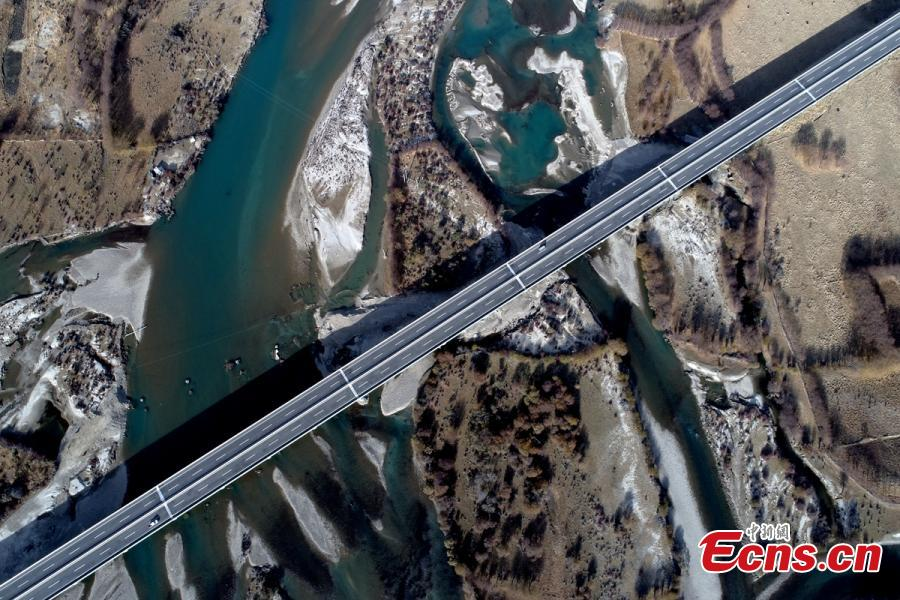 Marvelous aerial scenery over highland highway in Tibet