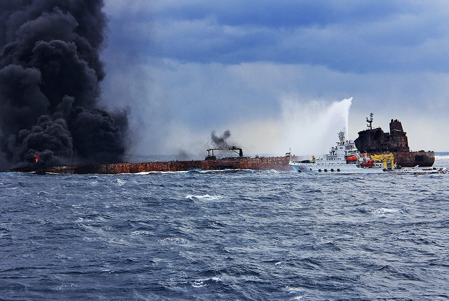 Panama registered oil tanker Sanchi suddenly reignited on Sunday