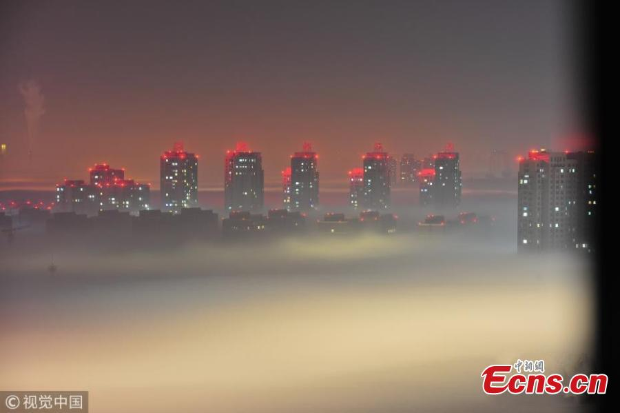 Dense fog turns Shenyang into heavenly world