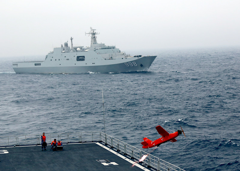 Landing ships steam in South China Sea