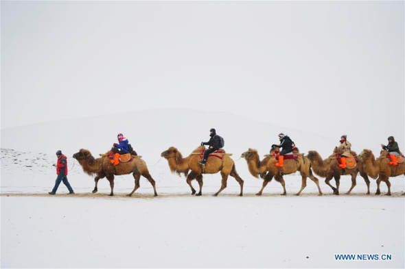 Snow scenery in Dunhuang, northwest China's Gansu