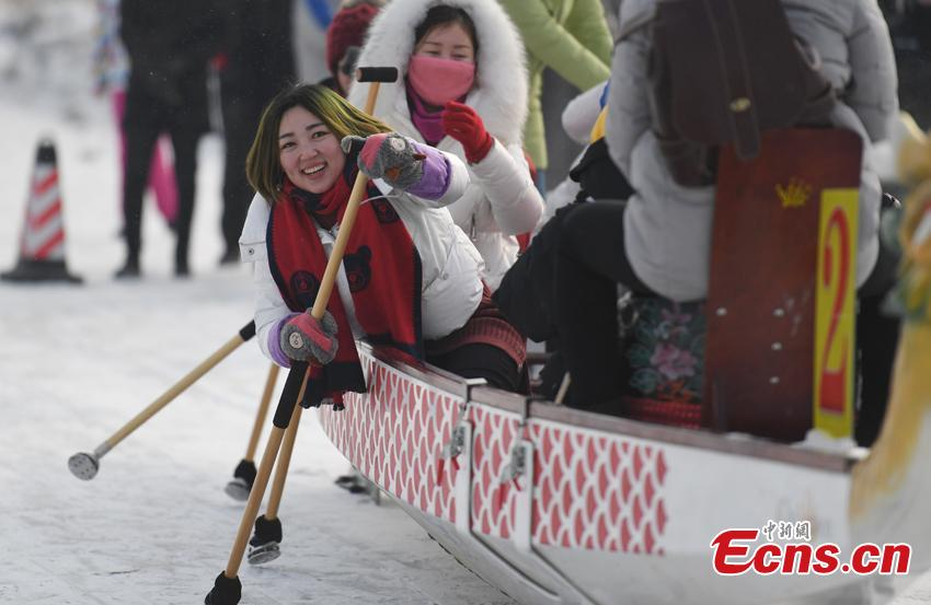 Dragon boat race on ice-covered lake