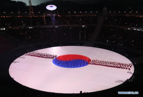 Moments of opening ceremony of PyeongChang Olympics