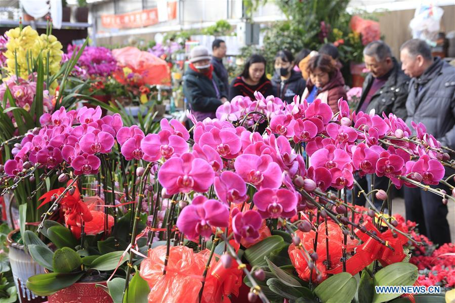 People across China buy flowers amid festive mood