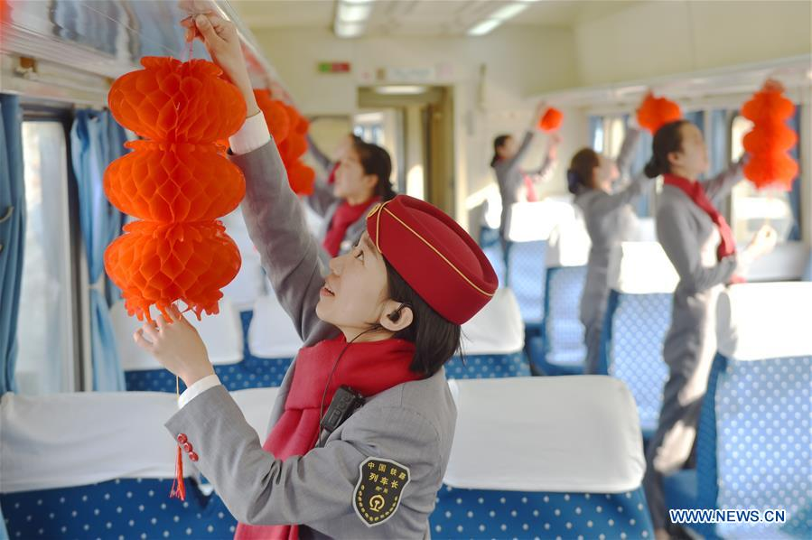 Trains decorated to greet Chinese Lunar New Year