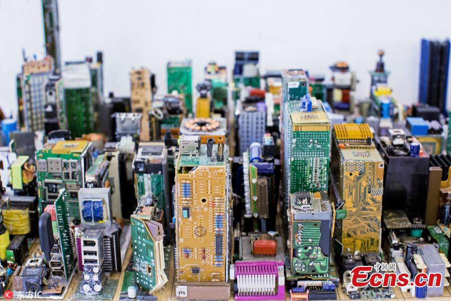 Manhattan scale model made of recycled motherboards