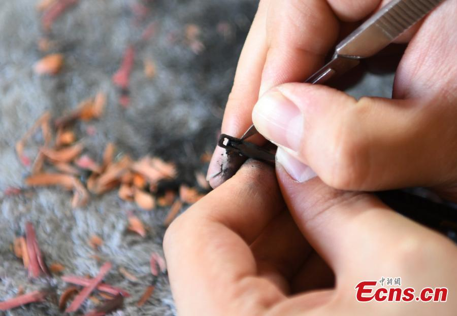 Man enjoys creating miniature statue on pencil lead