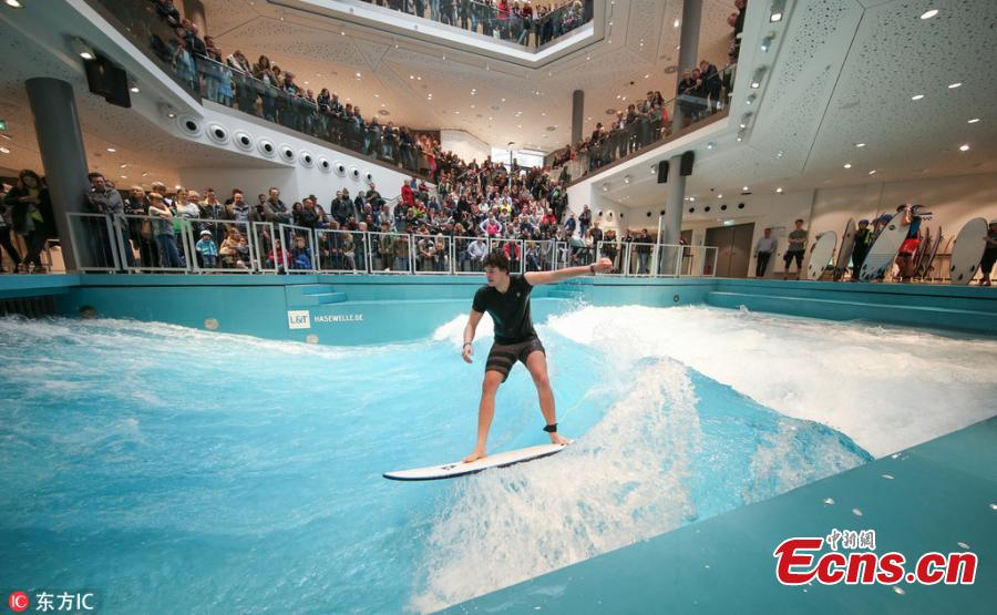 Surf pool opens in German shopping mall