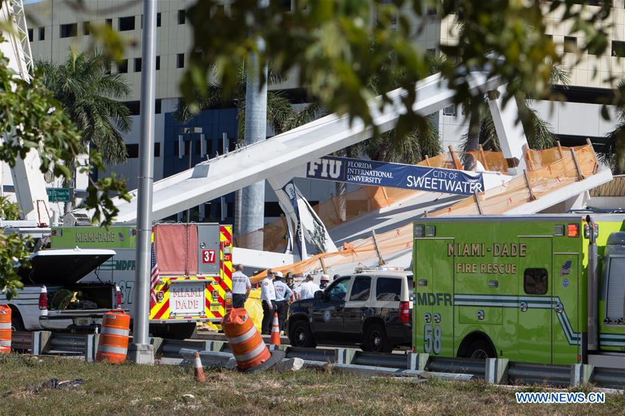 Pedestrian footbridge collapses in U.S. state of Florida