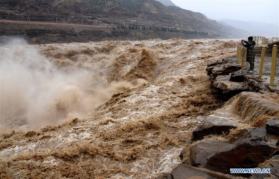 Spring flood seen at Hukou Waterfall on Yellow River