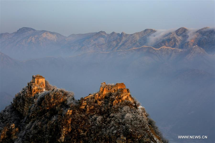 Scenery of Jiankou Great Wall after snowfall in Beijing