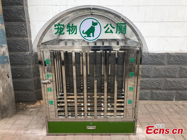 Toilet for dog placed on Taiyuan street