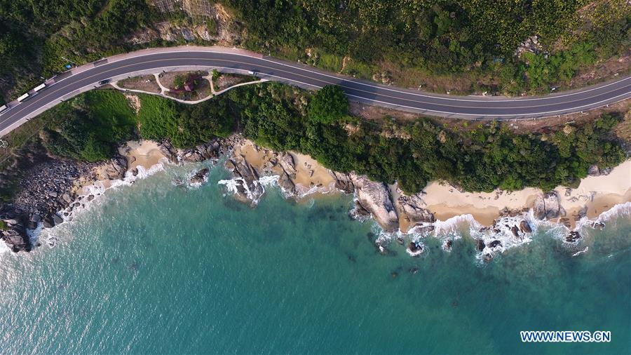 Aerial view of seaside sightseeing highway in Wanning, S China