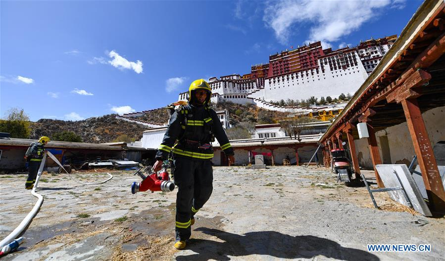 Emergency drill held at Potala Palace in Tibet