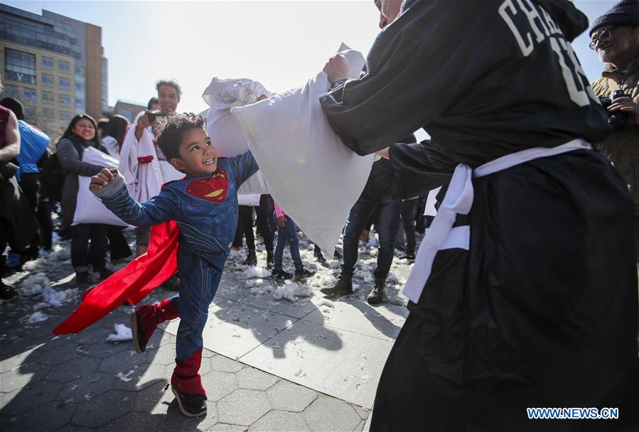People participate in pillow fights across U.S.