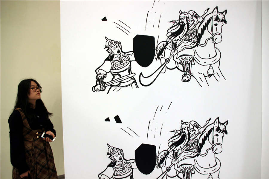 Popular cartoonist shows comics in Suzhou