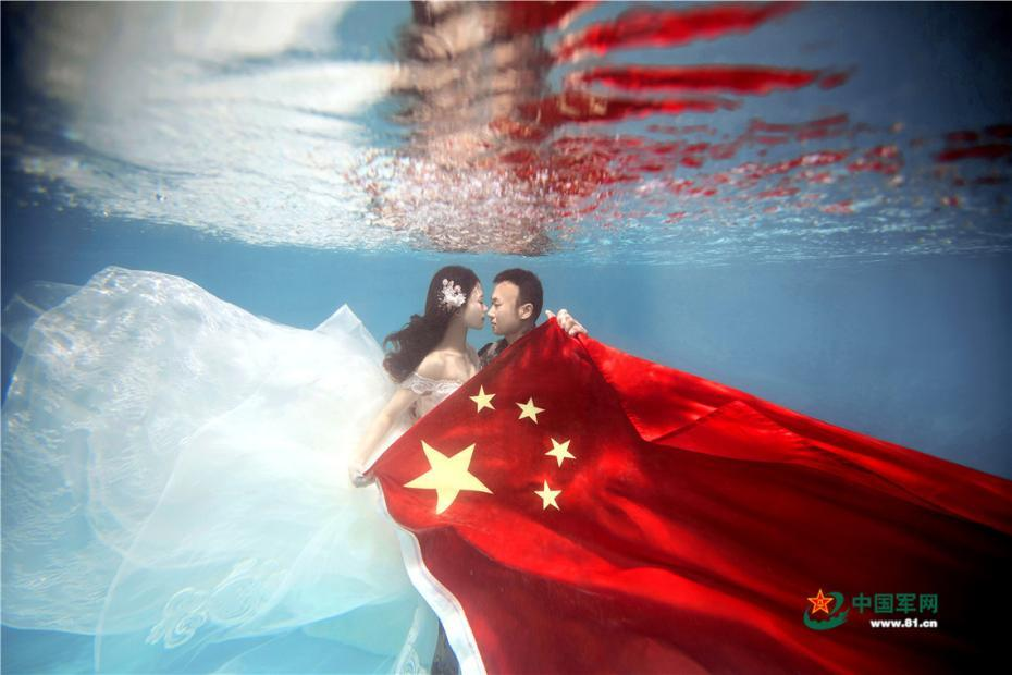 Underwater wedding photos specially for military couple