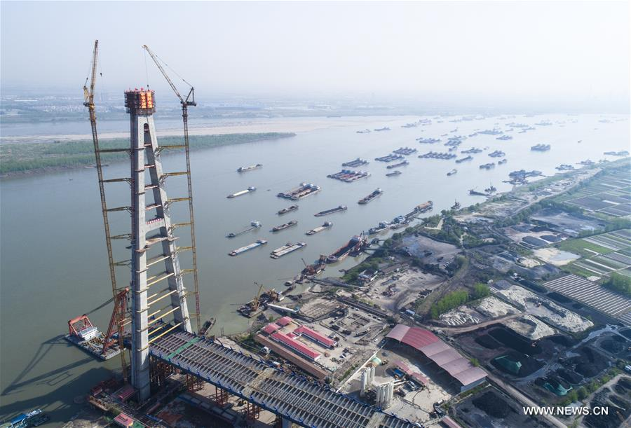 Main structure of world's tallest A-shaped bridge tower finished