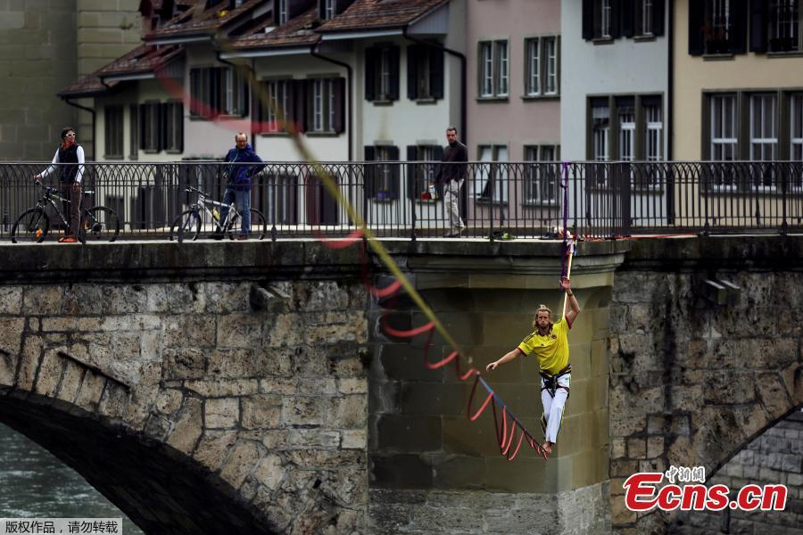 Tightrope performance on Switzerland river