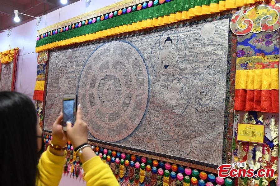 Thangka painting show held in Lanzhou