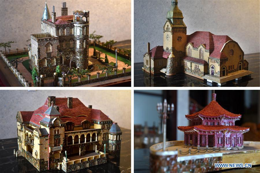 Shell-made miniature architectural models of east China's Qingdao