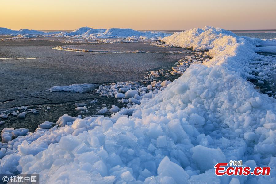 Ice begins melting in lake on China-Russia border