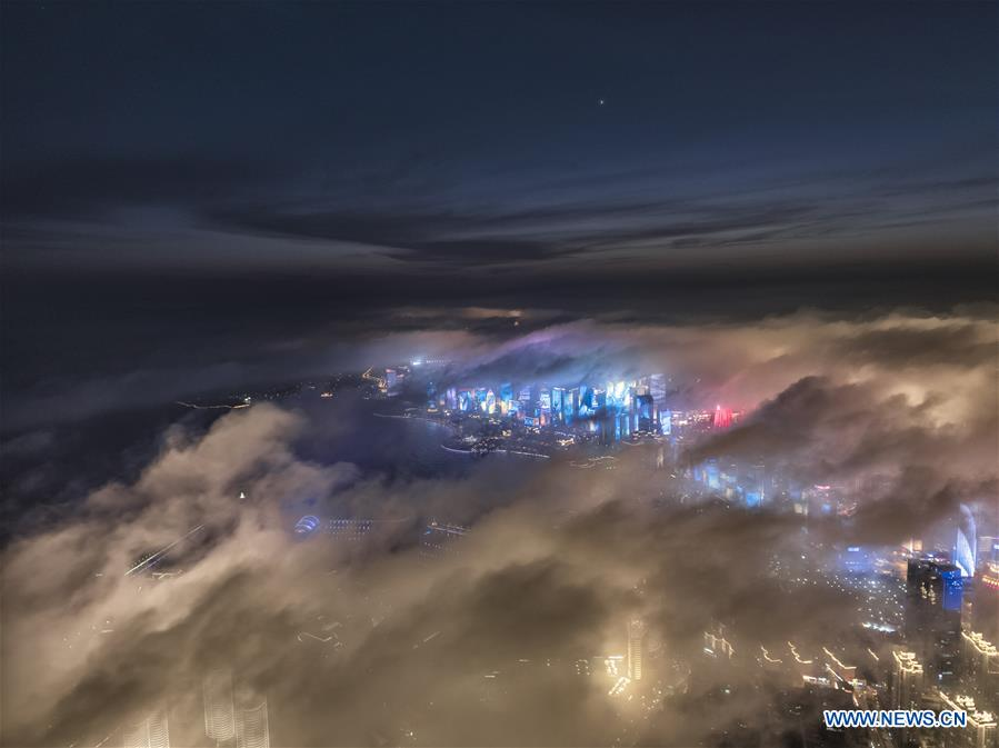 Aerial view of advection fog above Qingdao in east China's Shandong
