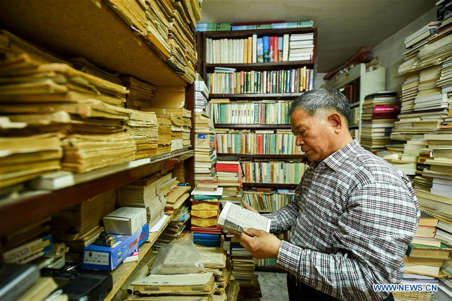 Pic story: old book store owner in China's Inner Mongolia