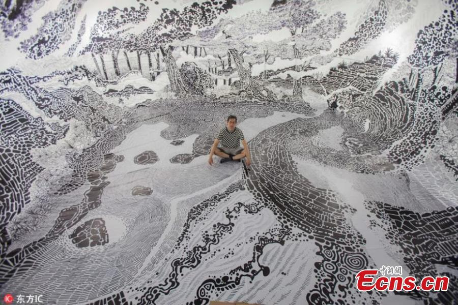 Artist uses 120 marker pens to create immersive drawing