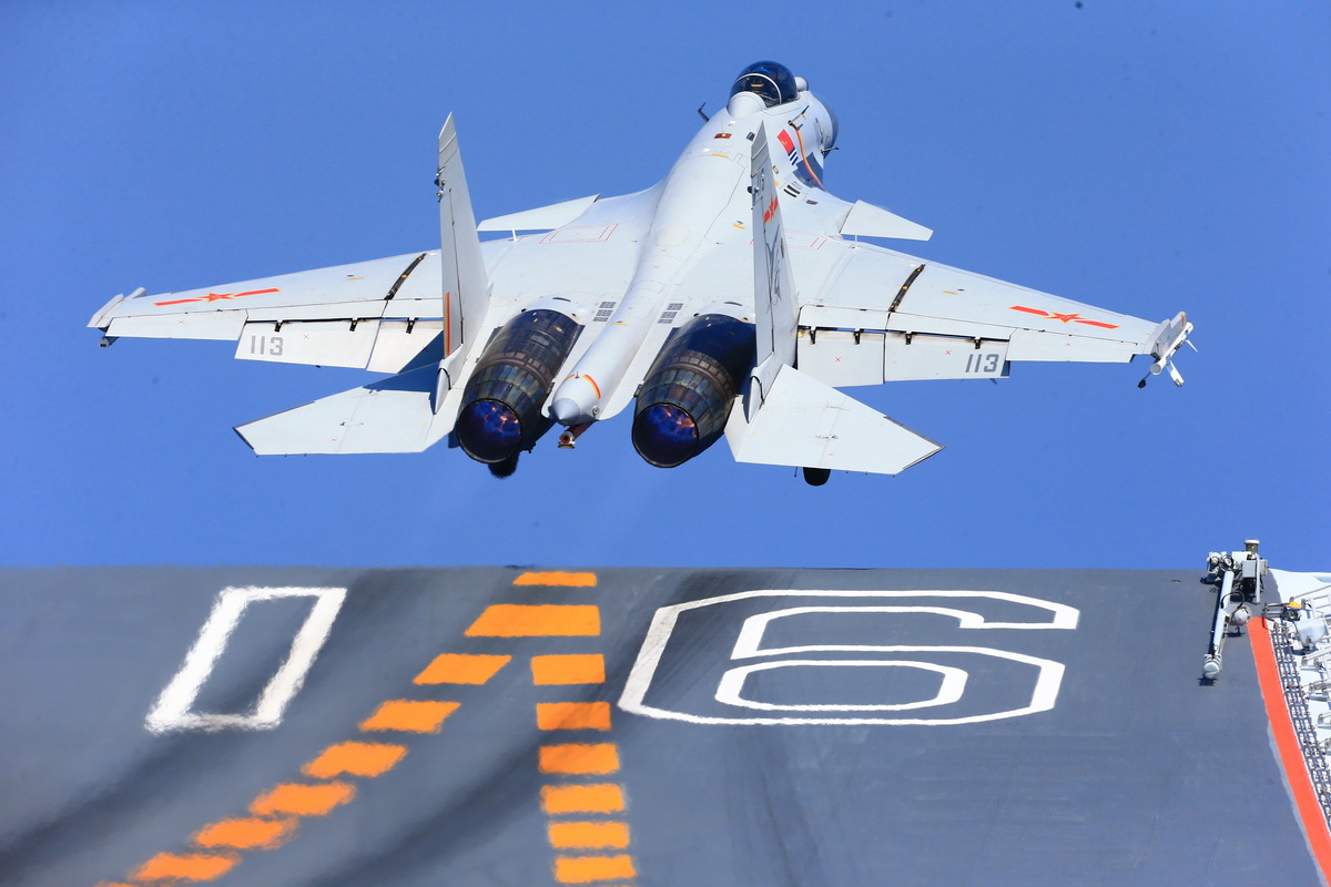 Ship-borne fighter jets take off from aircraft carrier Liaoning(