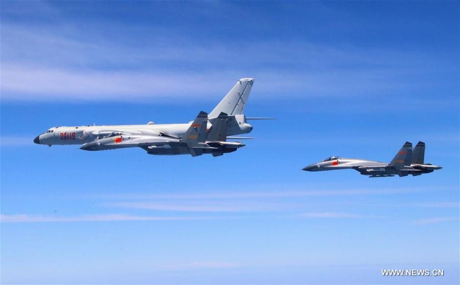 PLA air force conducts island patrol training