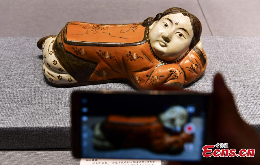 Selected ceramic pillows on show in Hebei Museum