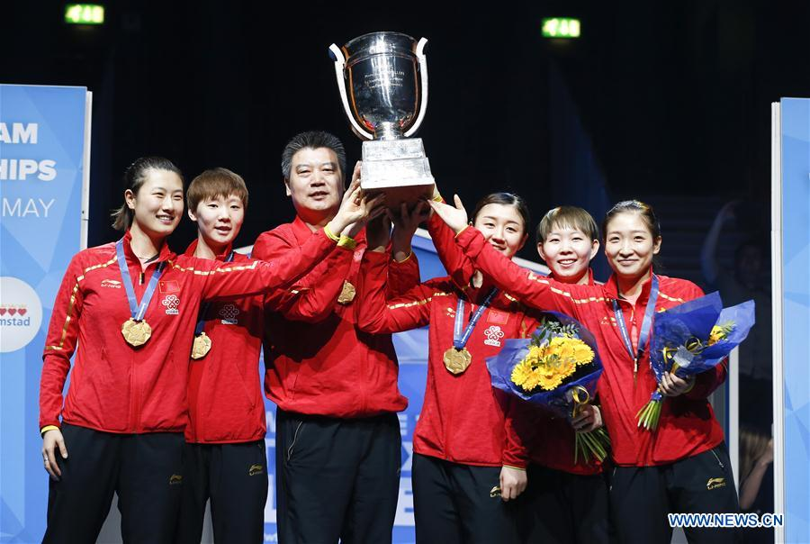 China's women's team win 4th consecutive title at table tennis worlds