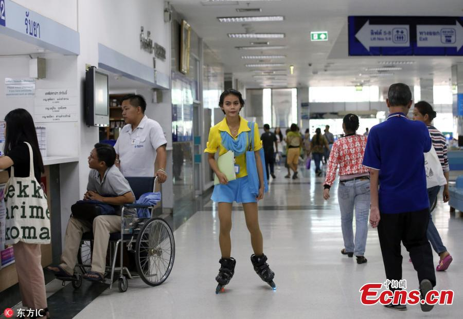 Nursing aides rollerblade through Thailand hospital
