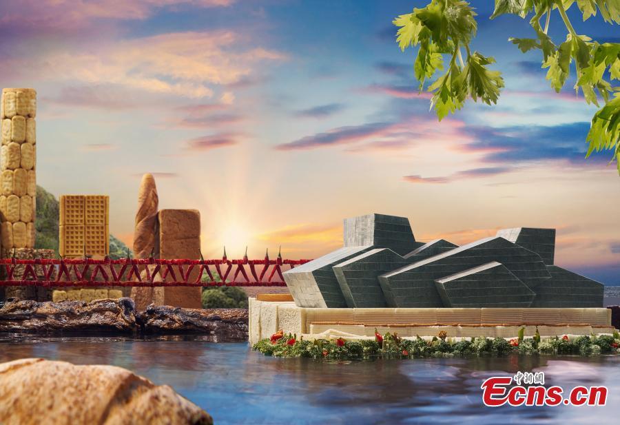 Food used to make Chongqing landmark replicas