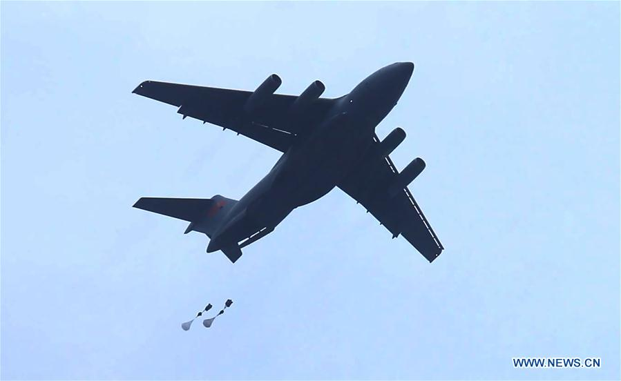 Y-20 heavy transport aircraft conducts training