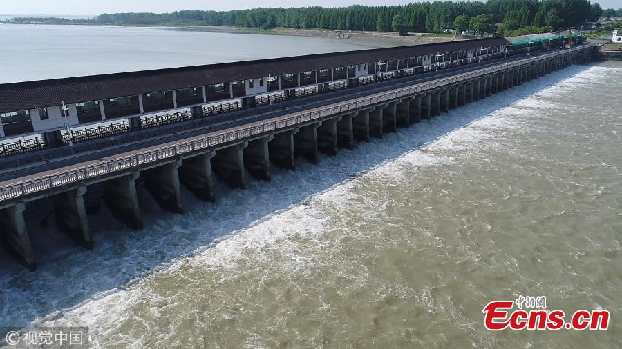 Hongze Lake discharged flood for safety