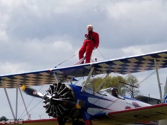 91-year-old granny breaks wingwalk world record in Rendcomb