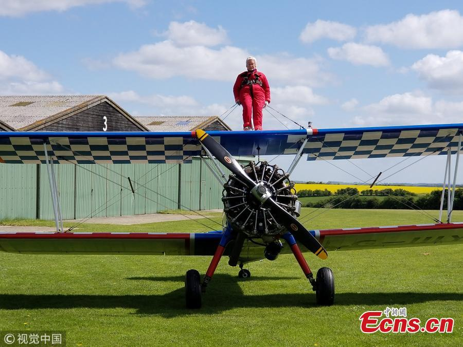 Norma Howard, 91, becomes 'oldest UK woman to wing-walk'